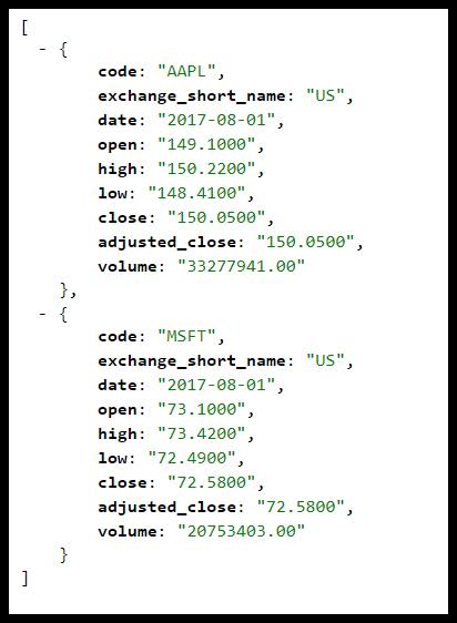 Bulk Download EOD Data JSON Output